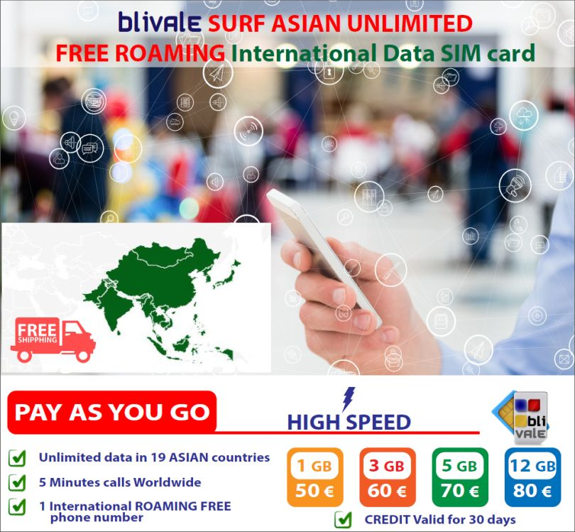 BLIVALE Surf Asia Unlimited: GB illimitati di dati in 19 Paesi Asiatici con Internet in Free Roaming con 5 minuti di telefonate nel Mondo