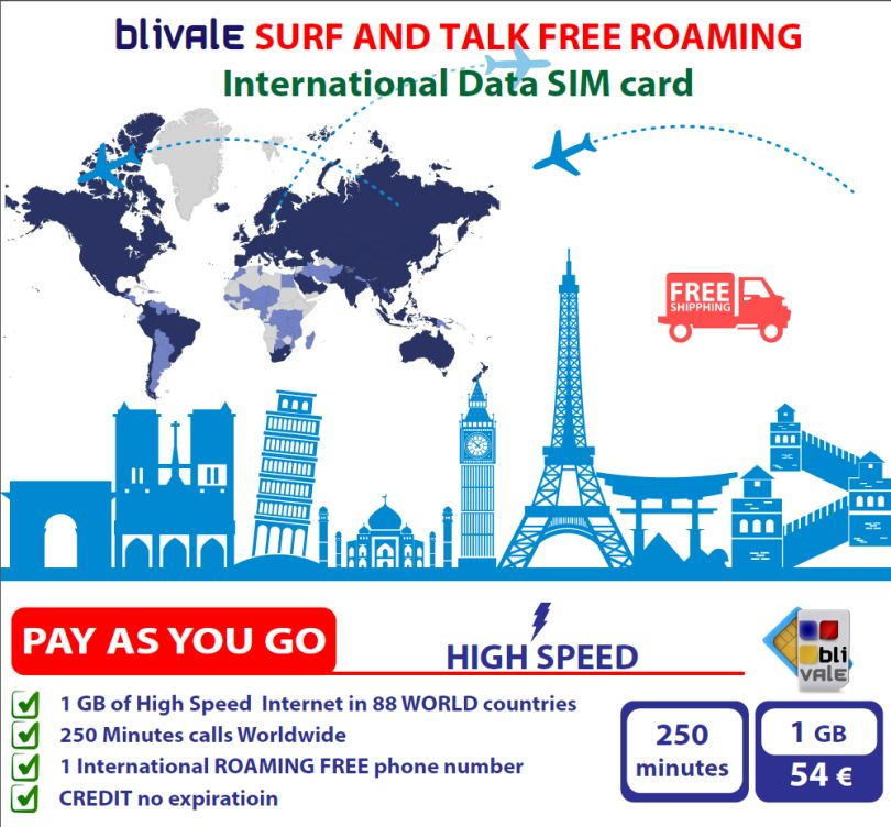 BLIVALE Internet & Telefonate : 250 minuti internazionali e 1 GB di Internet 4G LTE in 88 Paesi Internet