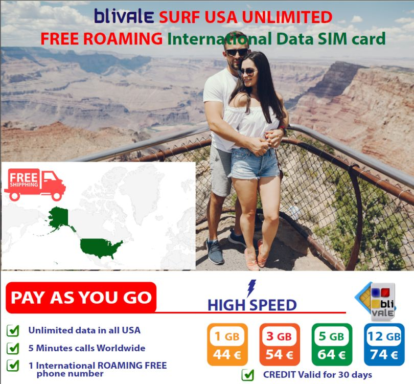 BLIVALE Surf USA Unlimited: GB illimitati di dati in tutti gli USA con Internet in Free Roaming con 5 minuti di telefonate nel Mondo